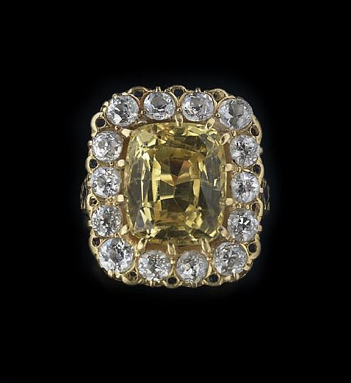 18-Karat Gold, Diamond and Yellow Sapphire Ring