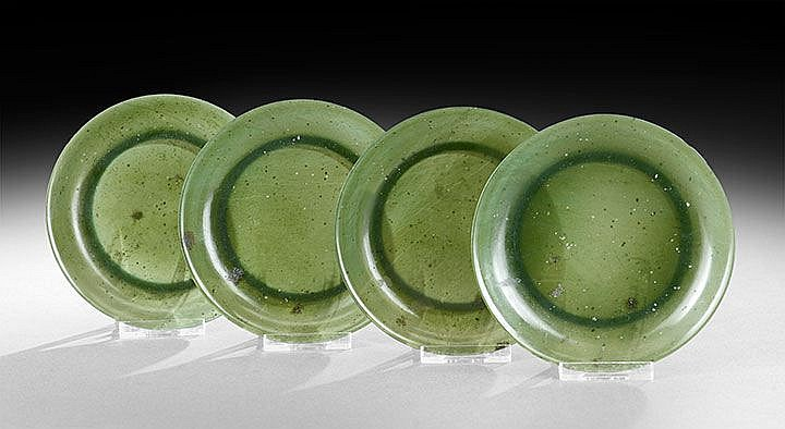 Four Chinese Jade Saucer Dishes