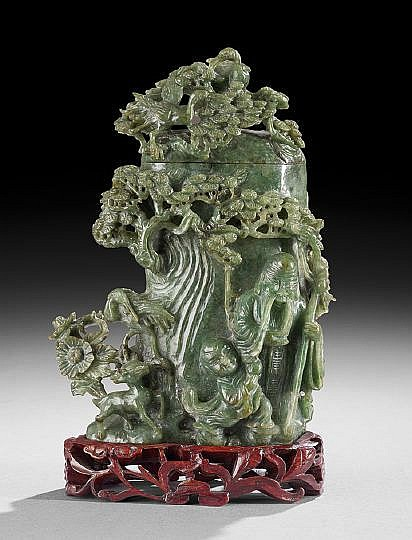 Chinese Carved Dark Green Jade Covered Vase