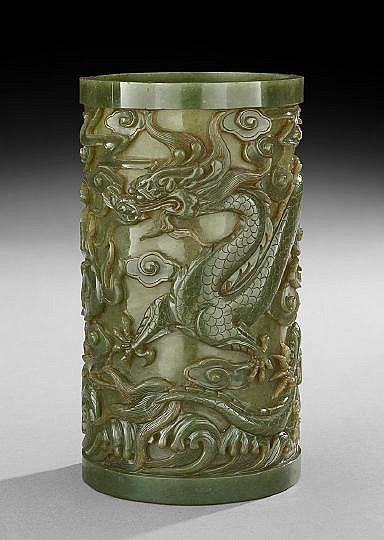 Chinese Jade Brush Pot
