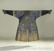 A Blue Silk Ground Brocade-Woven Dragon Robe