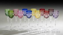 Set of Twelve Bohemian Molded Crystal Goblets