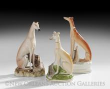 Collection of Three Seated Pottery Whippets
