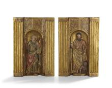 Pair of Spanish Painted Saints in Niches