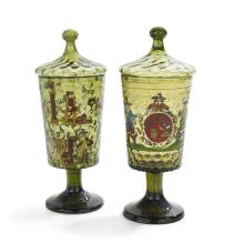 Pair of Blown and Enameled Green Glass Pokals