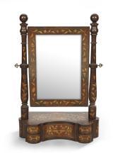 Dutch Mahogany and Marquetry Dressing Mirror