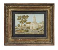 British Hand-Painted and Embroidered Church Scene