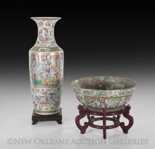 Chinese Rose Medallion Punch Bowl and Vase