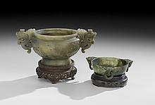 Two Chinese Carved Jade Censers