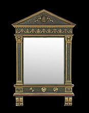 Italian Prussian Blue and Parcel-Gilt Mirror