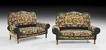 Pair of Victorian Oak and Upholstered Settees