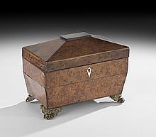 Regency Burr Walnut Sarcophagus-Form Tea Caddy