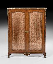 Louis XV/XVI-Style Marble-Top Vitrine Cabinet