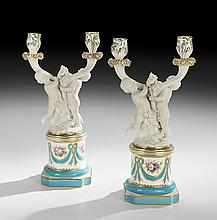 Pair of Porcelain Two-Light Figural Candelabra