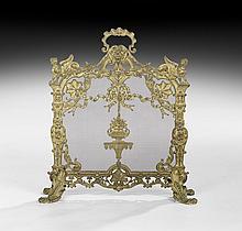 Rococo-Style Bronze and Screen Wire Firescreen