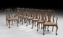 Eight George II-Style Walnut Dining Chairs