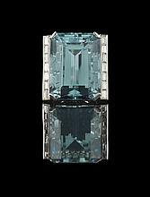 Platinum, Aquamarine and Diamond Ring