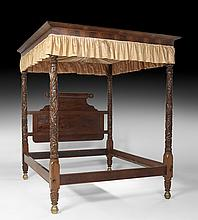 American Late Classical Mahogany Tester Bed
