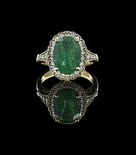 18 Kt. Yellow Gold, Emerald and Diamond Ring