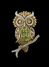 18 Kt. Gold,Peridot and Sapphire Owl Brooch