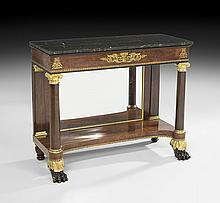 American Classical Stenciled Mahogany Pier Table