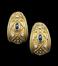 Pair of 18 Kt. Gold, Diamond & Sapphire Ear Clips
