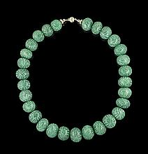 14 Kt. Yellow Gold and Carved Emerald Necklace