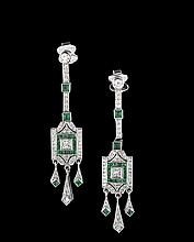 18 Kt. White Gold, Diamond and Emerald Earrings