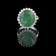 18 Kt. White Gold, Emerald and Diamond Ring