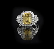14 Kt. Gold, Yellow Sapphire and Diamond Ring