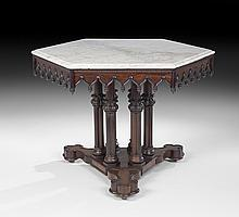 Important American Gothic Revival Center Table
