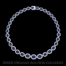 14 Kt. Gold, Star Sapphire and Diamond Necklace