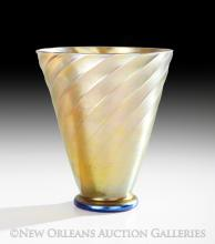 Gold Iridescent Aurene Glass Swirled Vase