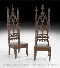 Pair of American Gothic Revival Oak Hall Chairs