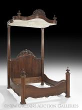 Antebellum Rococo Revival Half-Tester Bed