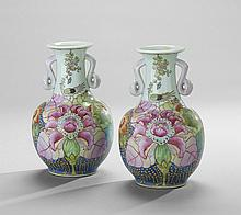 Pair of Chinese Pastel Floral Vases
