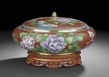 Large Chinese Cloisonne Covered Bowl