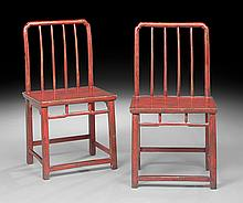 Pair of Chinese Red-Lacquered Elmwood Chairs
