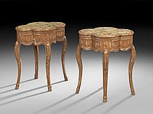 Pair of Italian Marble-Top Occasional Tables