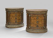 Pair of Neoclassical-Style Demi-lune Commodes