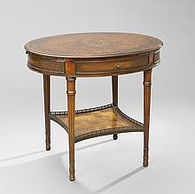 Continental Inlaid Mixed Woods Oval Side Table