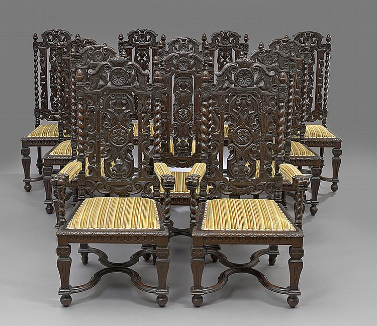 Twelve Neo-Renaissance-Style Oak Dining Chairs