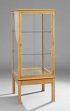 English Bleached Oak Vitrine Cabinet