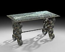 French Art Deco Marble-Top Coffee Table