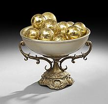 Decorative Compote with Silver-Leafed Bowl