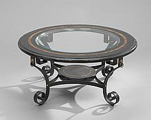 Spanish-Style Glass-Top Cocktail Table