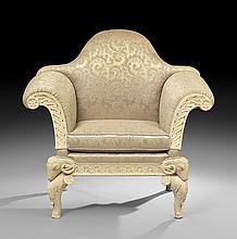 Italian Empire-Inspired Faux Travertine Armchair