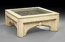 Large Contemporary Glass-Top Coffee Table