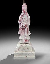 Chinese Red and White Peking Glass Figure