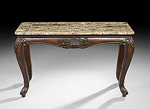 Contemporary Simulated Marble-Top Sofa Table